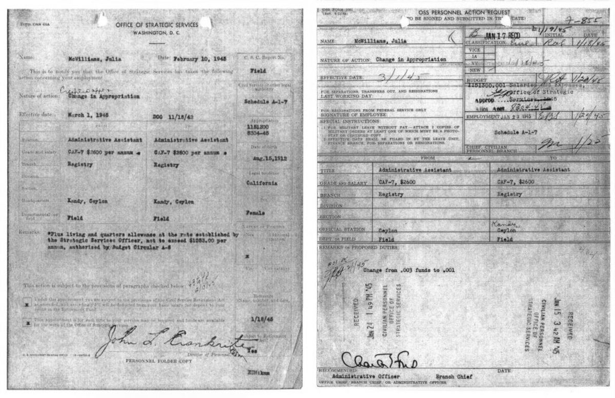 Office of Strategic Services documents on Julia McWilliams Child. (Credit: The National Archives)