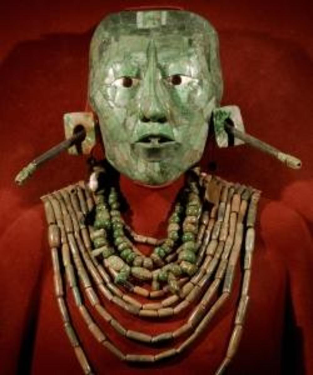 Jade mask of Mayan King Pakal, at the National Museum of Anthropology and History, in Mexico city. (Credit: Ronaldo Schemidt/AFP/Getty Images)