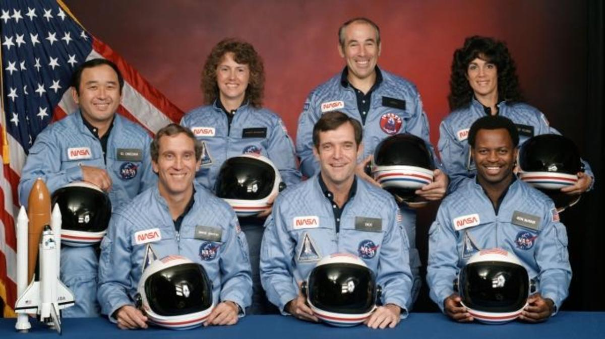 """The Challenger crew. Back row (L-R): Ellison Onizuka, Christa McAuliffe, Gregory Jarvis, Judith Resnick. Front row (L-R): Michael J. Smith, Francis """"Dick"""" Scobee, Ronald McNair."""