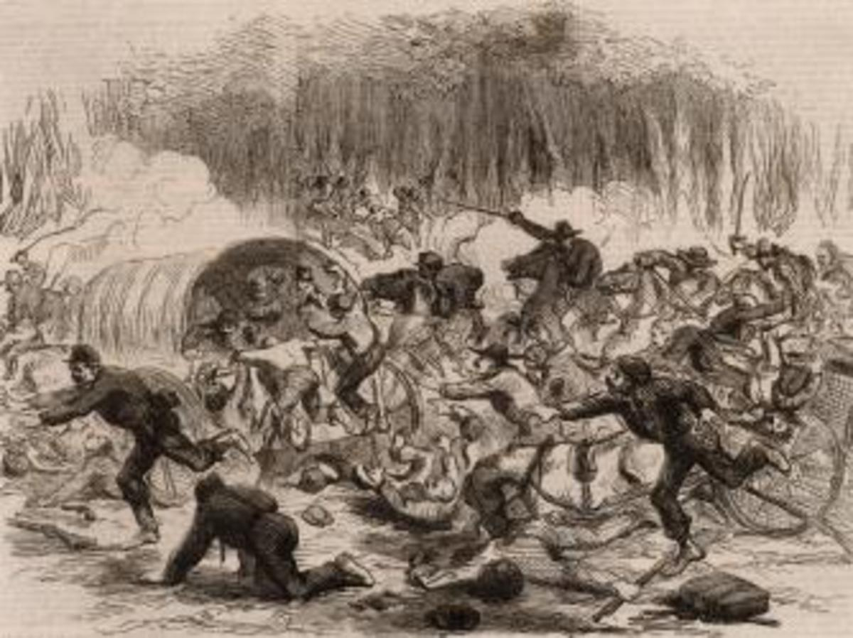 Drawing depicting stampede of retreating Union troops. (Credit: Universal History Archive/Getty Images)