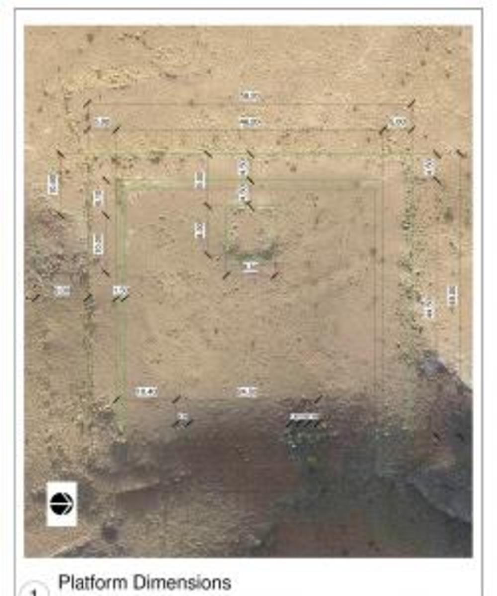 Aerial images of the monument found at Petra. (Credit: Bulletin of the American Schools of Oriental Research)