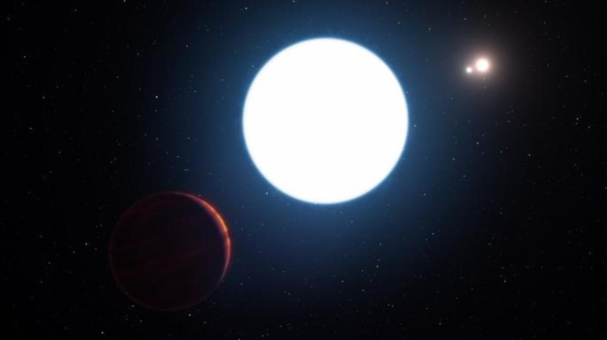 This artist's impression shows a view of the triple star system HD 131399 from close to the giant planet orbiting in the system. The planet is known as HD 131399Ab and appears at the lower-left of the picture. (Credit: ESO/L. Calçada/M. Kornmesser)