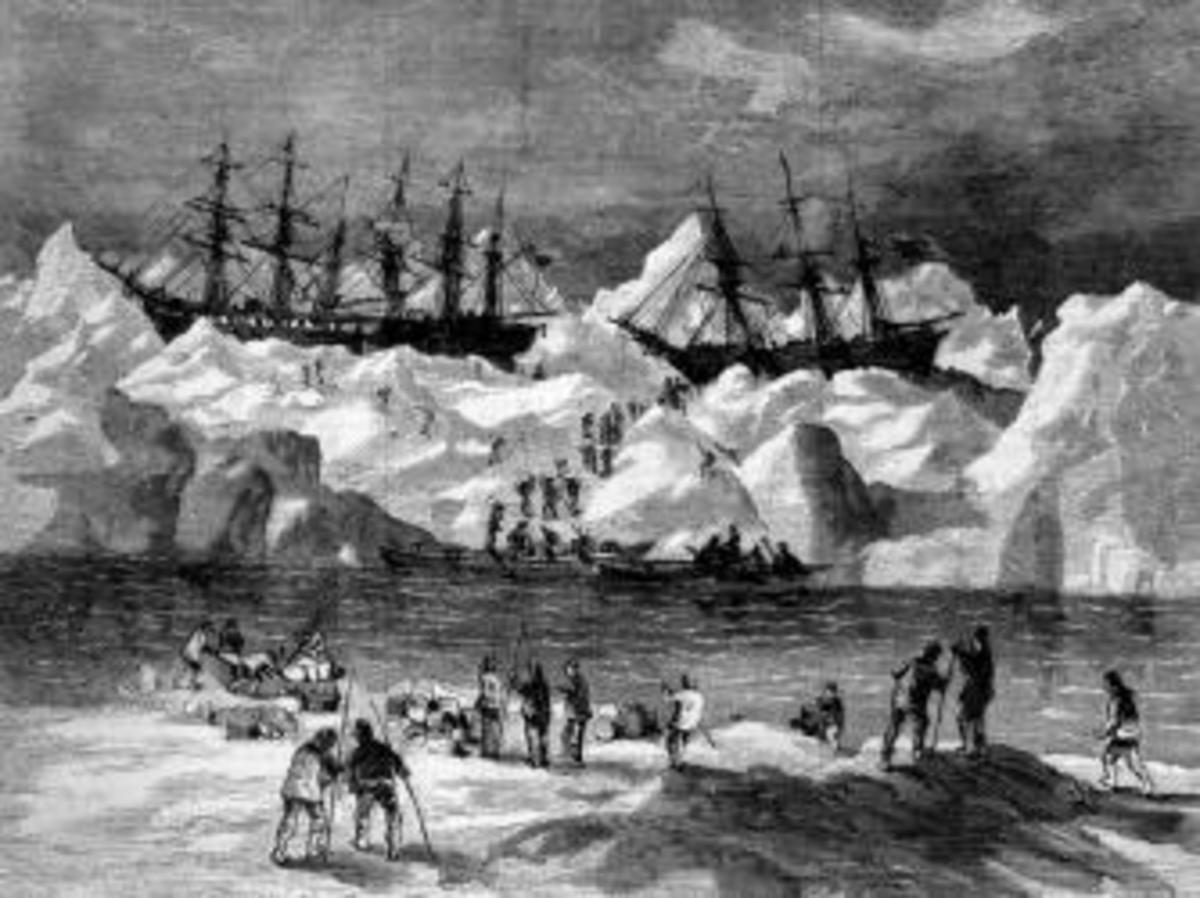 Crews abandon their ships during the Great Whaling Disaster of 1871. (Credit: NOAA)