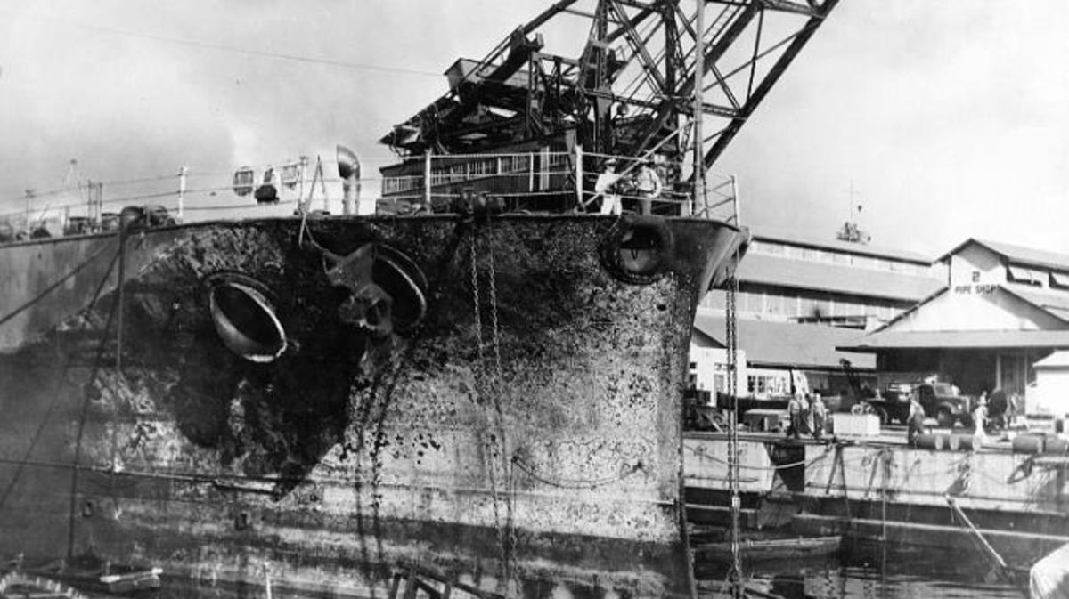 Damage to USS Pennsylvania following the attack. (Credit: U.S. Naval Historical Center)