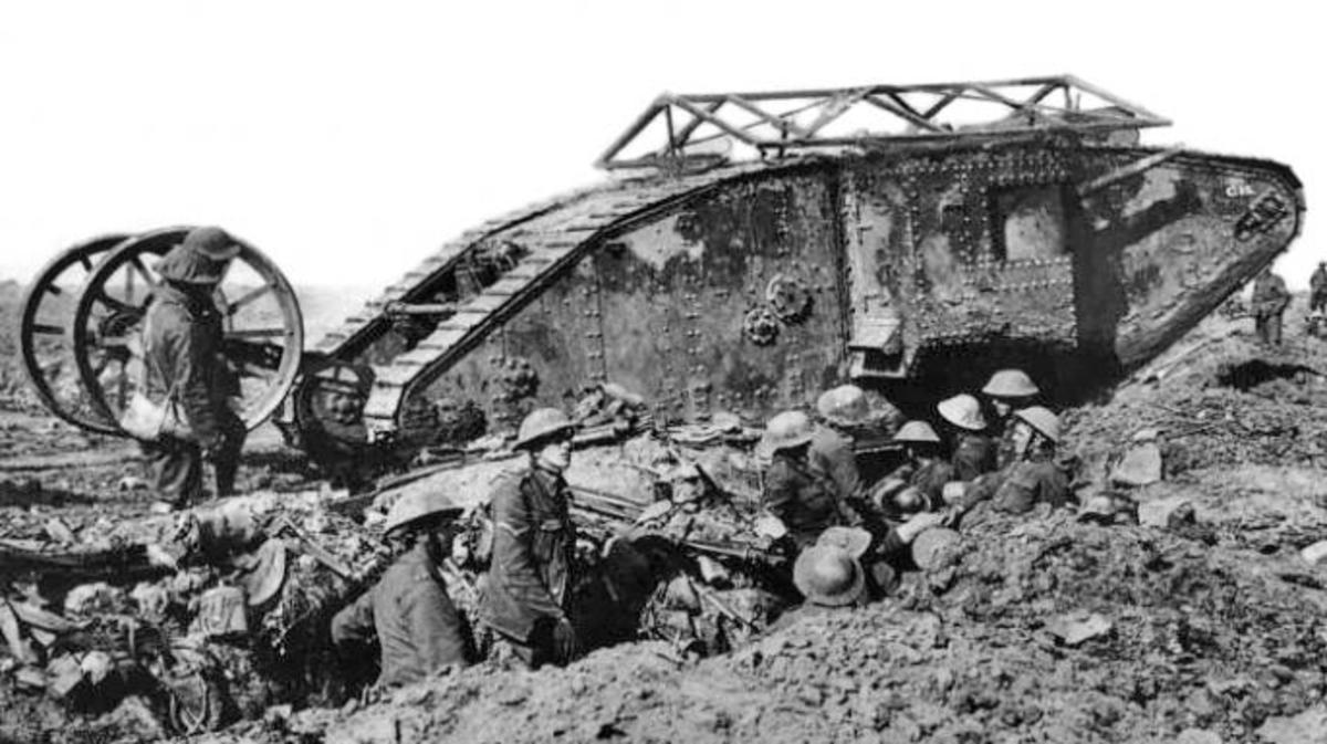 British Mark I tank at the Battle of the Somme