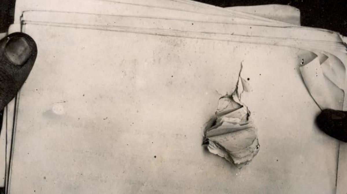 Papers in Roosevelt's pockets at time he was shot, showing where bullet struck. (Credit: Theodore Roosevelt Collection/Flickr Creative Commons/CC BY-NC-ND 2.0)