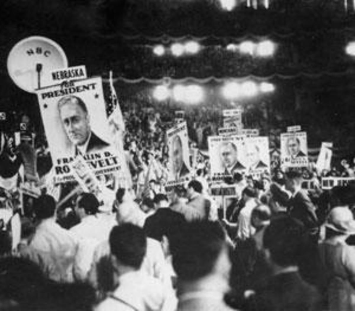 Supporters of Franklin Delano Roosevelt attend the 1932 Democratic National Convention in New York City. (Credit: Imagno/Getty Images)