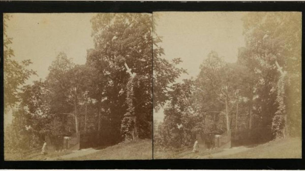 View of the old tomb at Mount Vernon, as a visitor ascends the stairs into the vault, circa 1865. (Credit: The Washington Library)