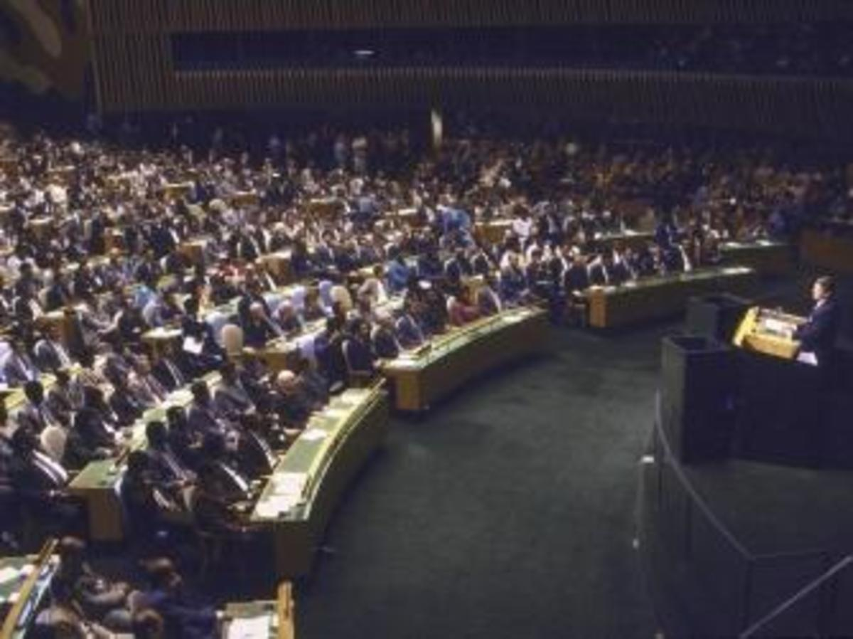 US President Ronald Reagan addressing UN General Assembly.  (Credit: Bill Foley/The LIFE Images Collection/Getty Images)