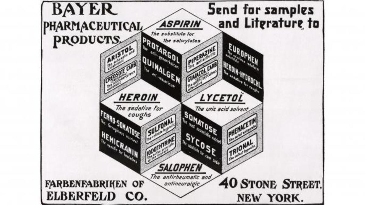 Pharmaceutical advertisement from a 1900 magazine, promoting the use of heroin for a cough. (Credit: Bettmann/Getty Images)
