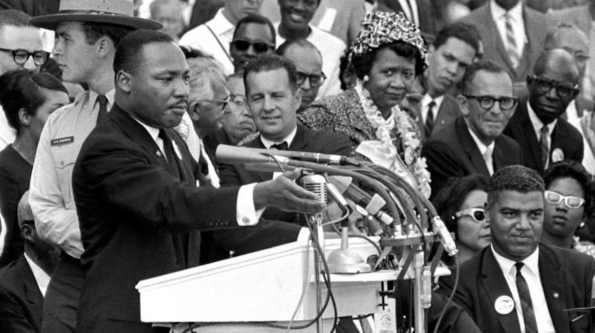 "Dr. Martin Luther King, Jr. delivers his ""I Have a Dream"" speech in Washington, D.C. (Credit: AP/REX/Shutterstock)"