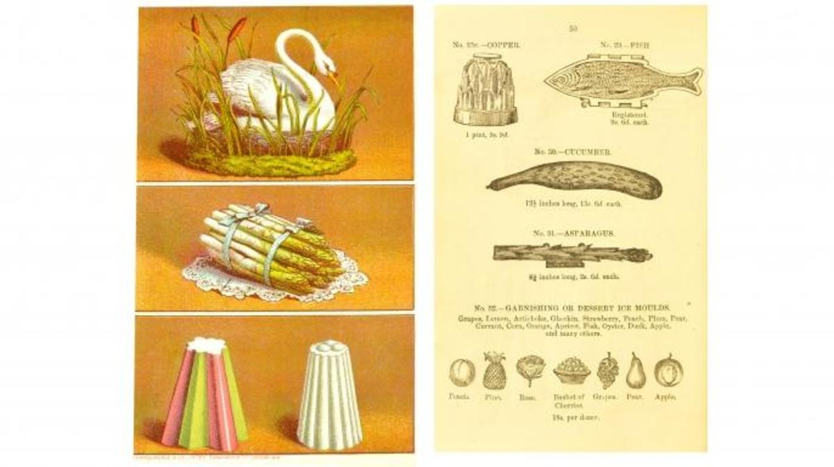 Images of dessert molds from Agnes Marshall's, The Book of Ices, 1885. (Credit: University of Leeds Library)