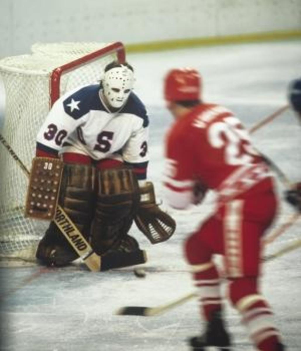U.S. goaltender Jim Craig blocks a Soviet shot (Credit: John Kelly/Getty Images)