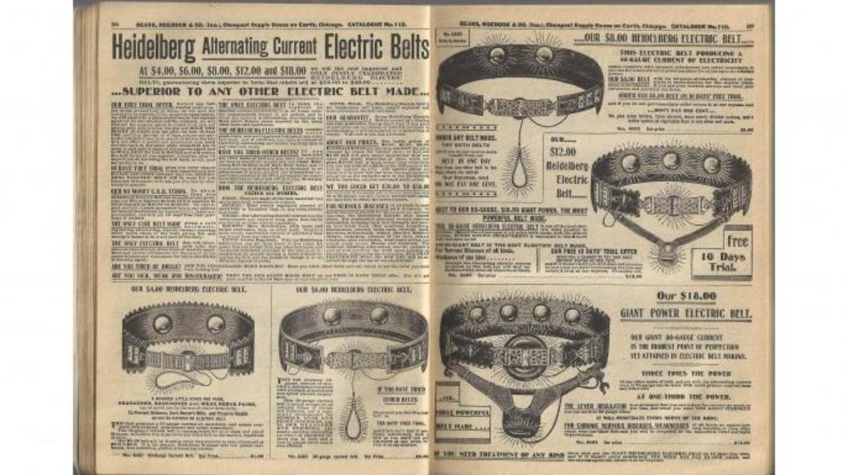 Electric belts featured in a Sears catalog, 1900.