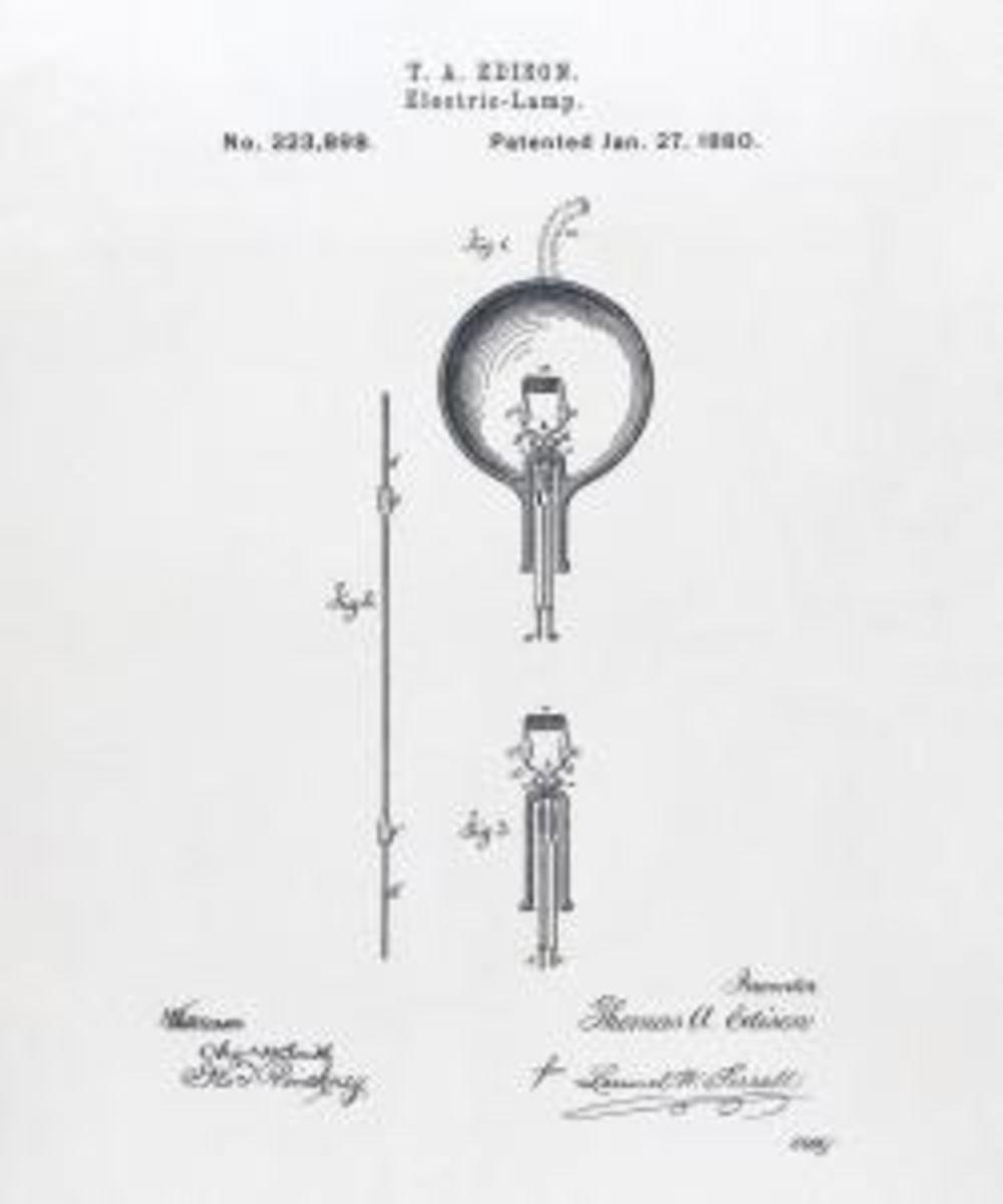 Patent drawing for Edison's light bulb