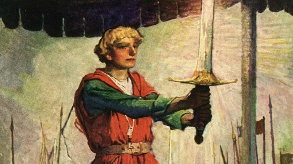 Illustration of King Arthur and Excalibur.