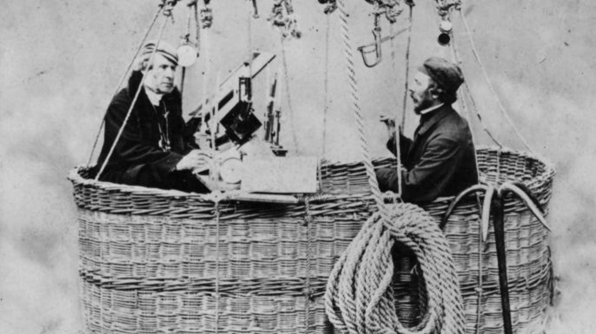 Henry Coxwell (right) in a hot air balloon basket, 1862