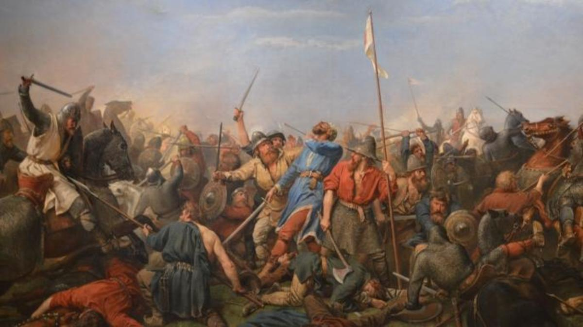 The death of Harald Hardrada at the Battle of Stamford Bridge