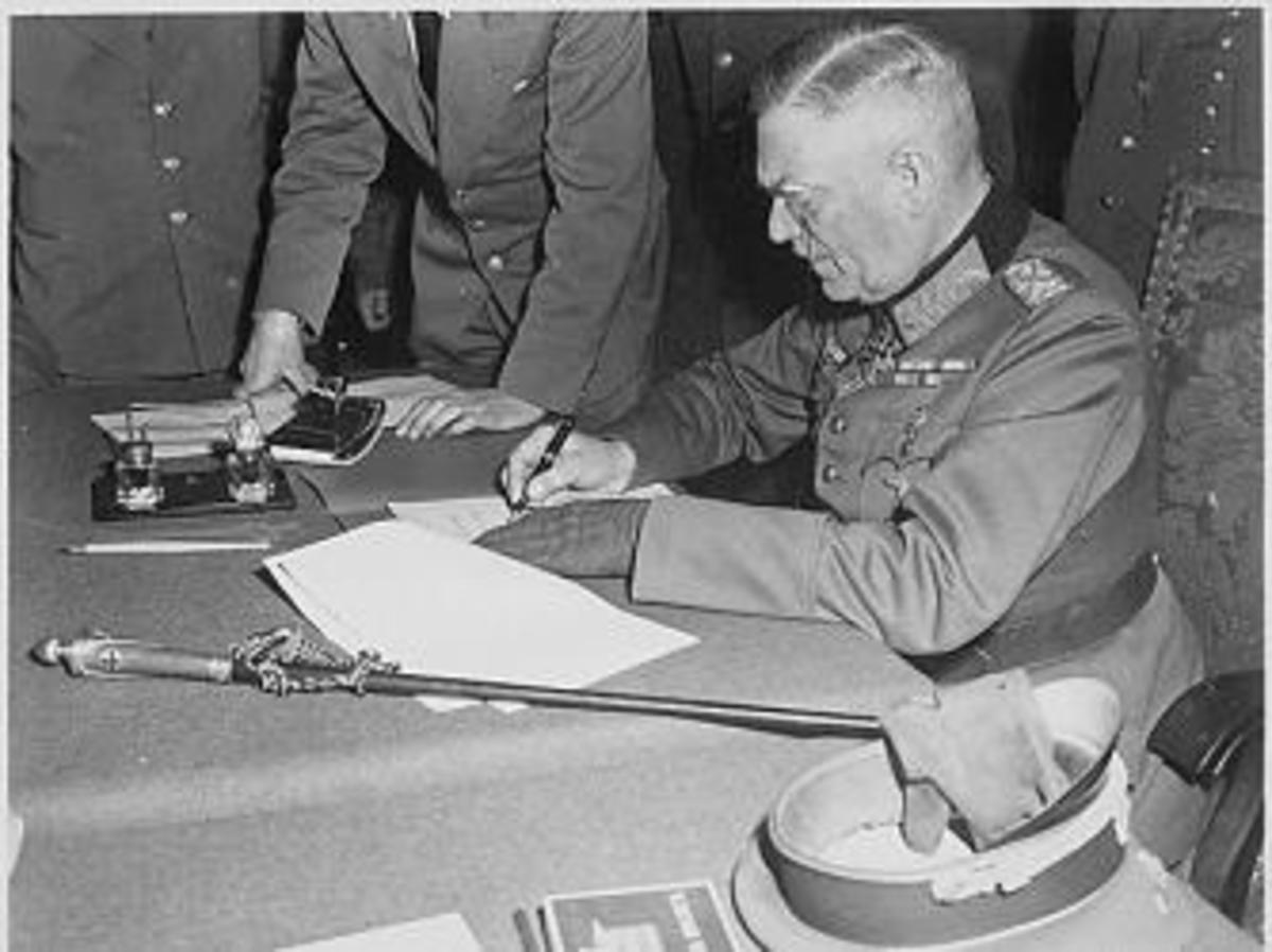Field Marshall Wilhelm Keitel signing the German surrender terms on May 7, 1945.
