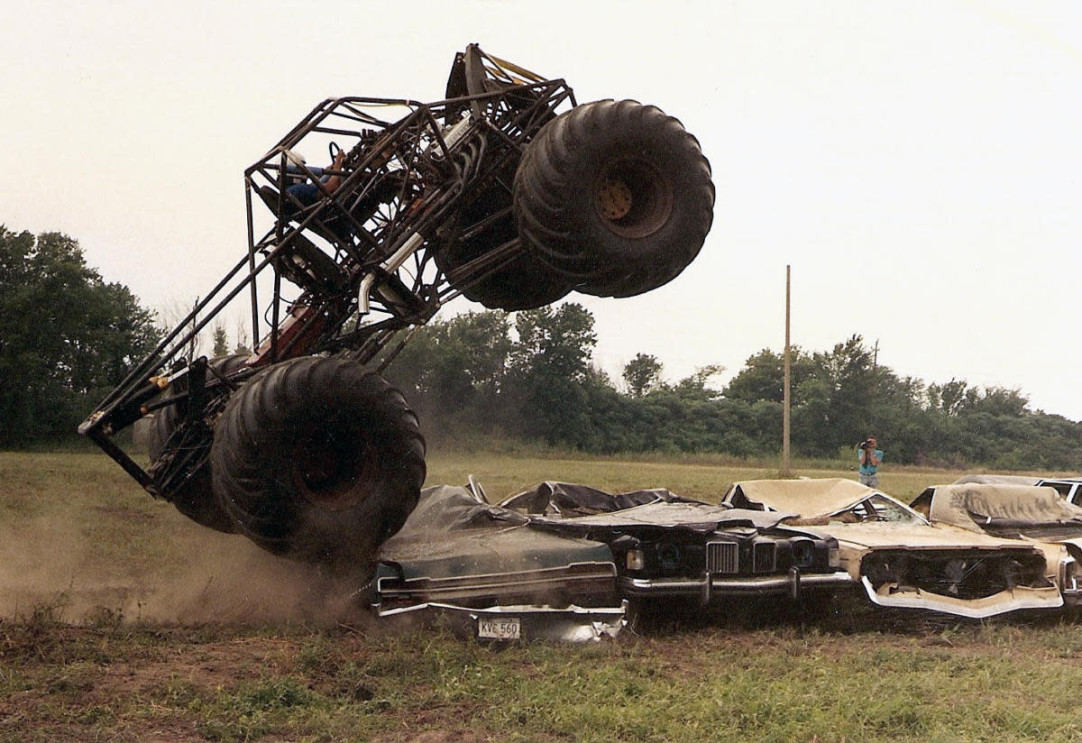 As monster trucks grew bigger, heavier and ever more cumbersome, the Bigfoot team experimented with a new  tubular-steel chassis with a cantilever suspension system. (Image courtesy of Bob Chandler)