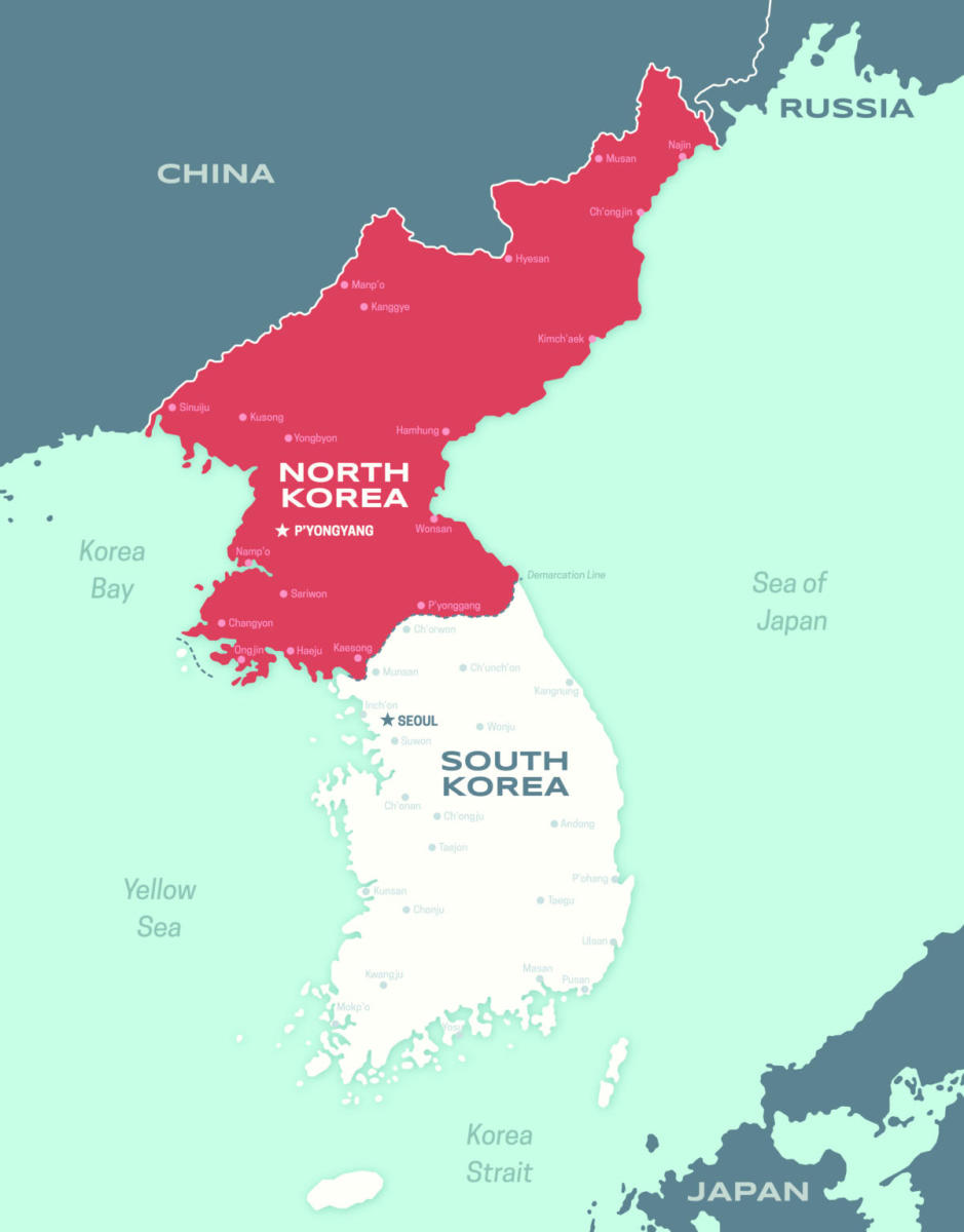 Map of the Korean peninsula including North and South Korea. (Credit: Filo/Getty Images)