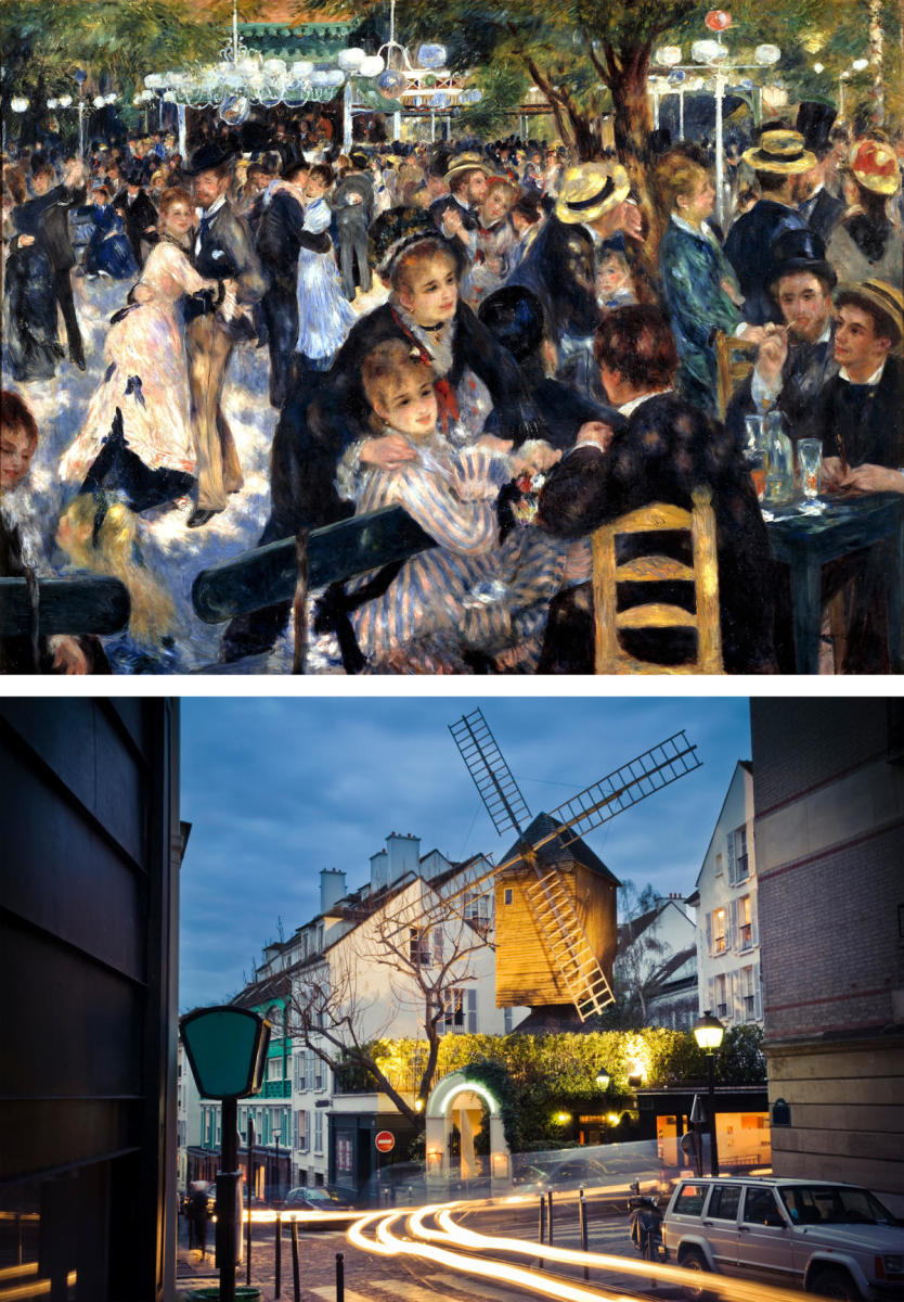 Bal du moulin de la Galette, 1976, by Pierre-Auguste Renoir compared to the present day moulin de la Galette Windmill. (Credit: Universal History Archive/Getty Images & Ivan Bastien/Getty Images)