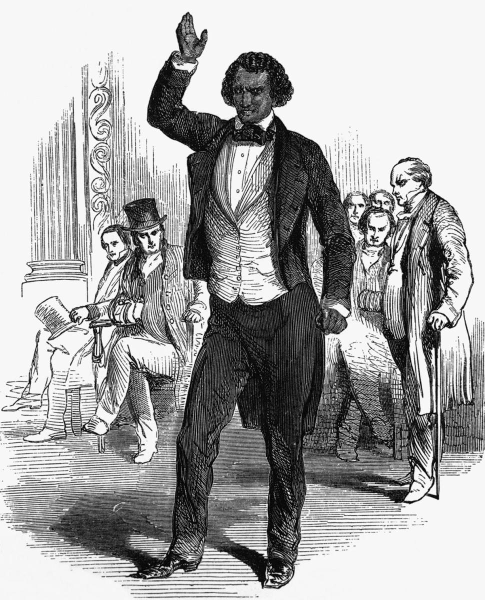 Frederick Douglas addressing an audience in London in 1846. He fled to England after his published autobiography brought him to national attention, raising the risk that his former master would try to reclaim his escaped slave. Douglass returned to the United States after supporters negotiated a payment for his freedom.  (Credit: Bettmann Archives/Getty Images)