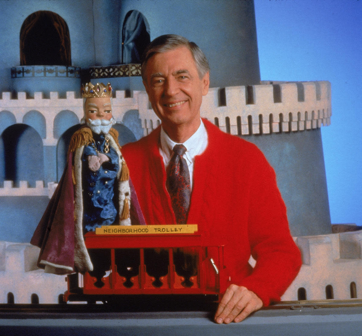 Fred Rogers on the set of his television show 'Mister Rogers' Neighborhood,' circa 1980s. (Credit: Fotos International/Getty Images)