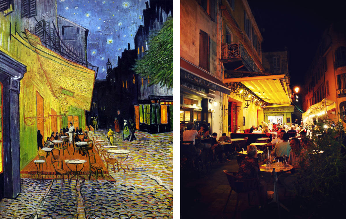 Cafe Terrace at Night, by Vincent van Gogh, alongside the real cafe in the painting. (Credit: Universal History Archive/UIG/Getty images & Alessandro Bonvini/Flickr Creative Commons/CC BY 2.0)