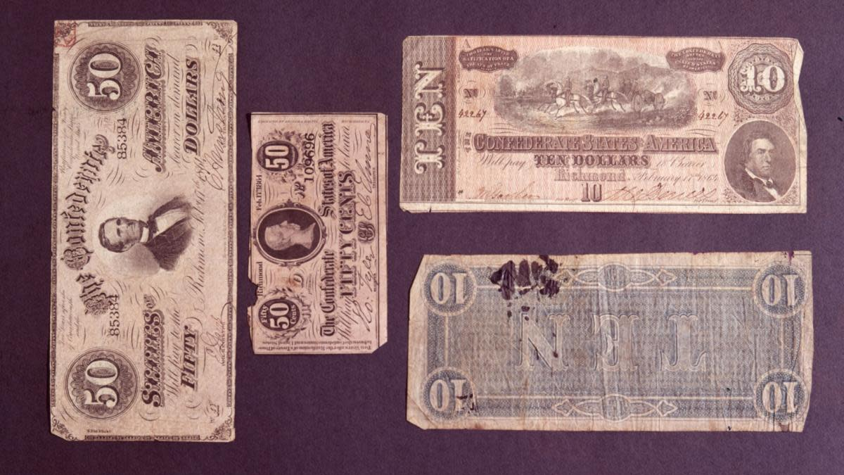Confederate States of America currency circa 1865. (Credit: MPI/Getty Images)