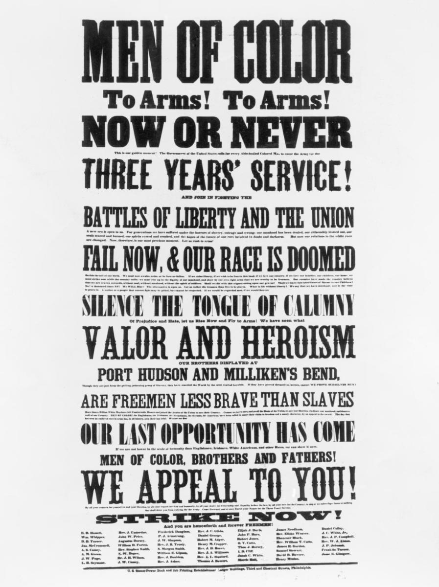 Poster recruiting black men to fight in the Union Army in the American Civil War, signed by many including Frederick Douglass. (Credit: Archive Photos/Getty Images)