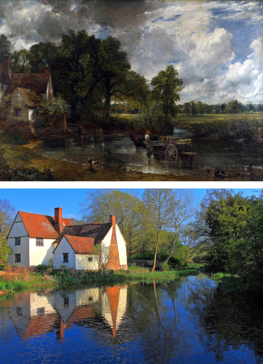 The Hay Wain, by John Constable, compared to the Willy Lott's 16th-century cottage which is featured in the painting. (Credit: Universal History Archive/Getty Images & Andrea Pucci/Getty Images)
