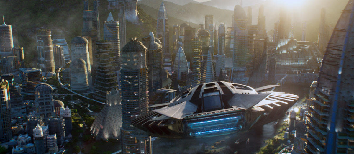Talon fighter over Wakanda, from the movie Black Panter. (Credit: Marvel/Walt Disney Studios Motion Pictures/Everett)