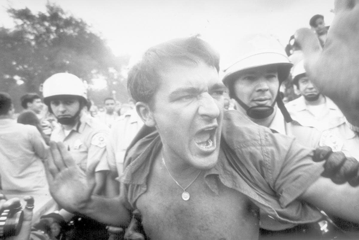 fe4f2580c29 An unidentified protester being led away by police from the demonstration  outside the 1968 Democratic National