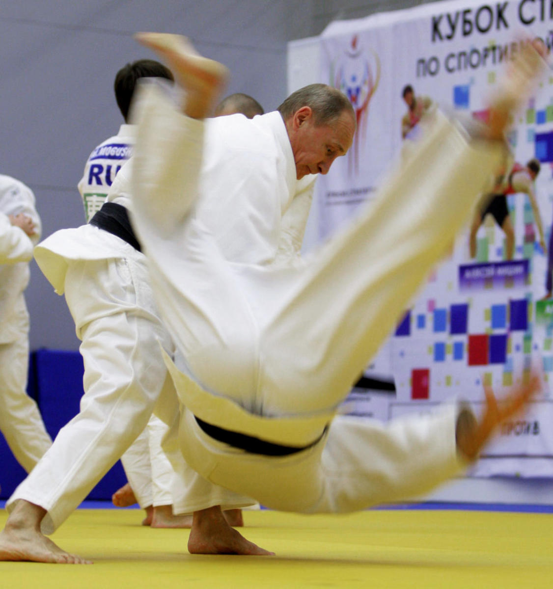 Vladimir Putin taking part in a judo training session in St. Petersburg, 2010.