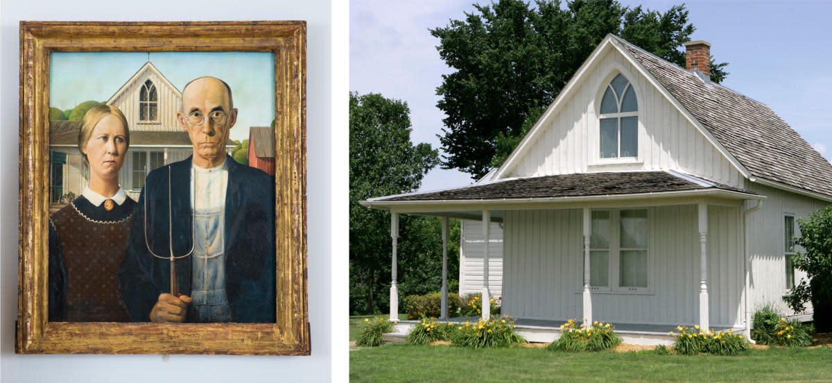 American Gothic, by Grant Wood, 1930, alongside the real home, that was featured in the background, in Eldon, Iowa. (Credit: Tristan Fewings/Getty Images for Royal Academy of Arts & Charlie Neibergall/AP Photo)
