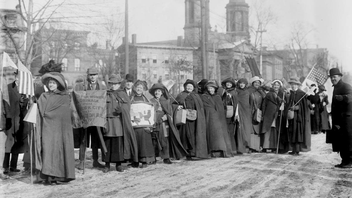 American suffragists marching in Newark, New Jersey, heading to Washington DC for the National American Woman Suffrage Association parade, 1913. (Credit: Bain News Service/Buyenlarge/Getty Images)