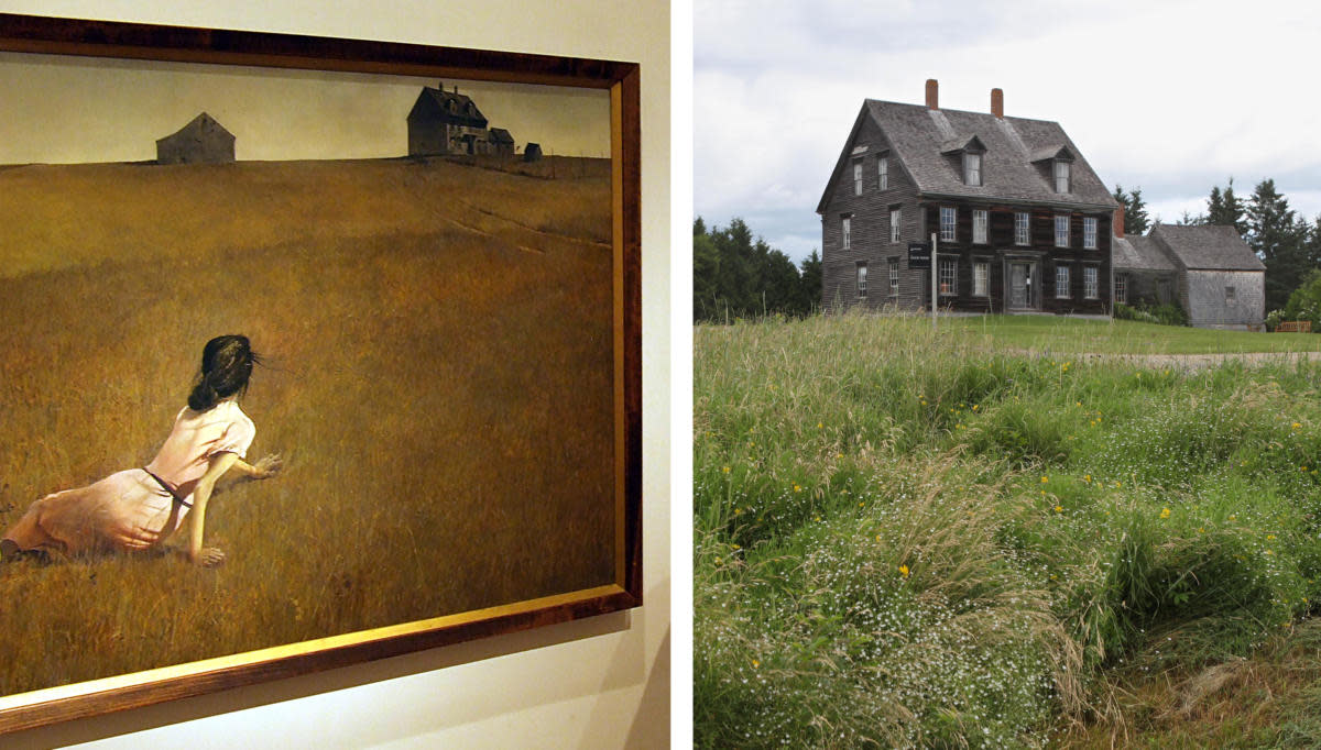 Christina's World at the Museum of Modern Art, alongside the Olson House featured in the painting. (Credit: Dave Bonta/Flickr Creative Commons/CC BY-NC-ND 2.0 & Joel Page/AP Photo)