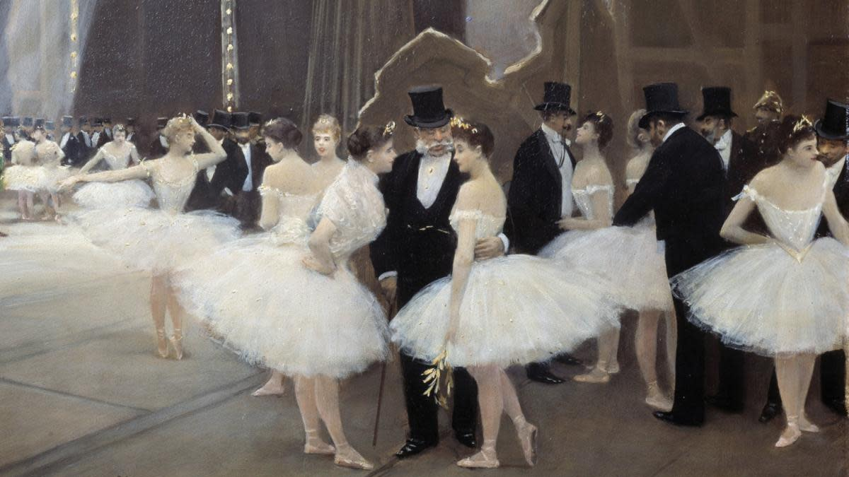 A painting by Jean Beraud of ballet dancers in the wings of the opera house, 1889. (Credit: Leemage/Corbis via Getty Images)