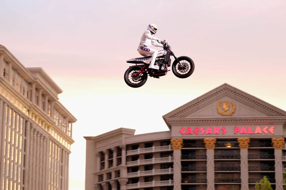 Travis Pastrana jumping over the fountain at Caesars Palace in Las Vegas.