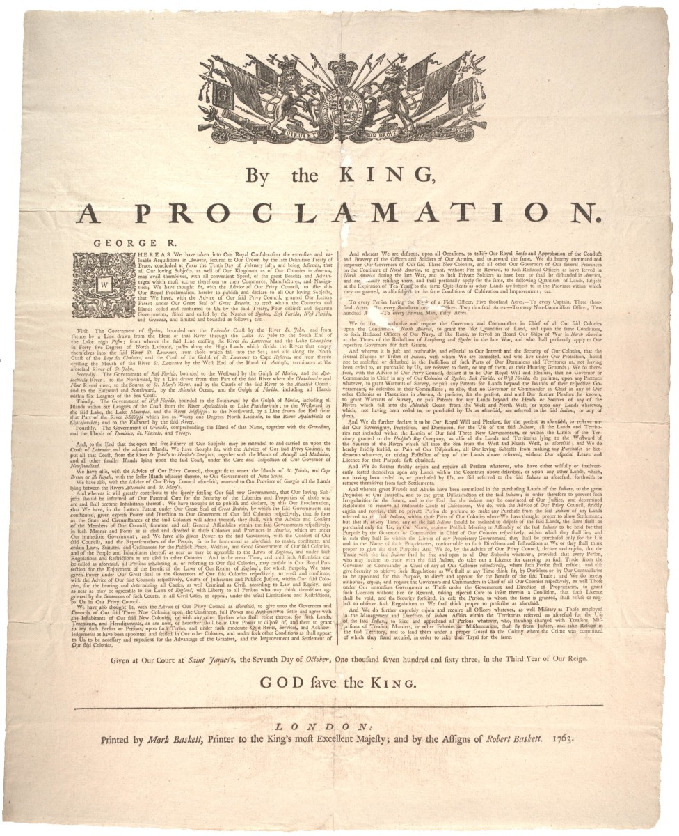 Proclamation Of 1763 History