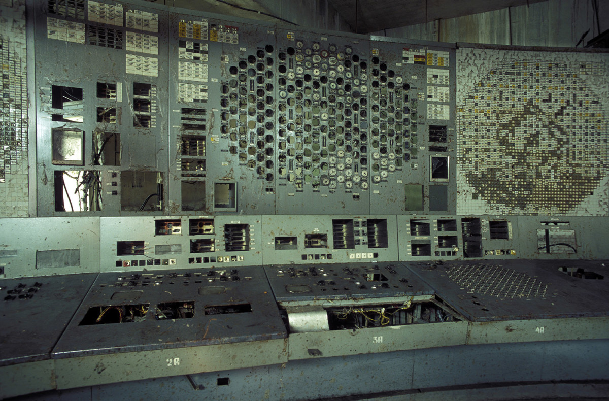 The control panel of reactor unit 4 inside the Chernobyl exclusion zone and nuclear power plant in 2006. Reactor unit 4 was the one that blew up on April 26, 1986.