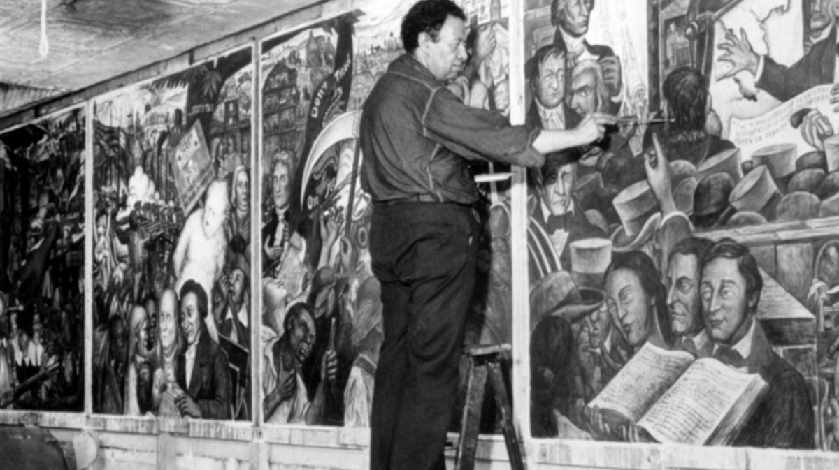 Diego Rivera working on a mural in 1939. (Credit: Everett Collection Inc/Alamy Stock Photo)