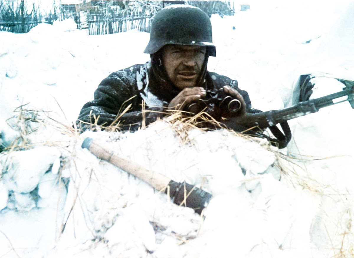 A Wehrmacht soldier takes part in the Axis invasion of the USSR, named Operation Barbarossa, in 1941.