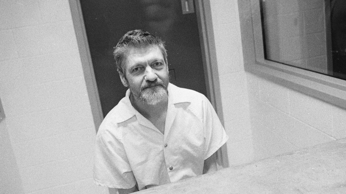 American domestic terrorist and mathematics teacher Ted Kaczynski during an interview in a visiting room at the Federal ADX Supermax prison in Florence, Colorado, 1999. (Credit: Stephen J. Dubner/Getty Images)