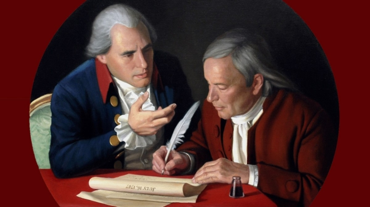 Roger Sherman and Oliver Ellsworth in 1787 drafting The Great Compromise, a plan for representation in Congress. (Credit: Photo12/UIG via Getty Images)