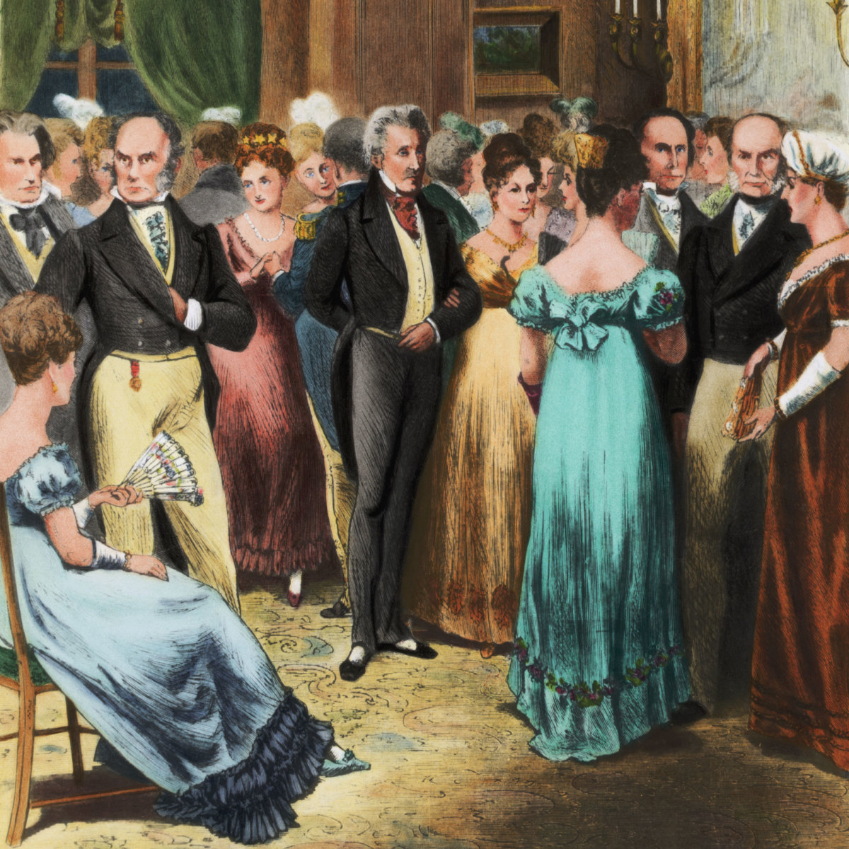 Many guests attended the balls hosted by Louisa Adams, including Andrew Jackson, seen in the center to the right of President John Quincy Adams. (Credit: Bettmann Archive/Getty Images)