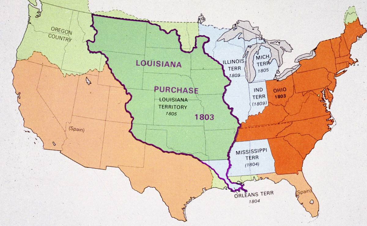 Map showing the area covered by the Louisiana Purchase. The land which was bought from France, virtually doubled the area of the United States, cost only 15 million dollars and gave the US security against development by the French.