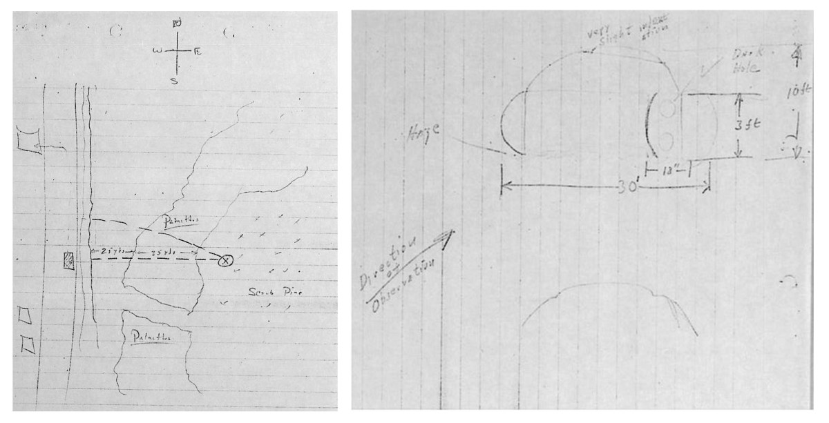 Sketches by DesVergers in the Project Blue Book file further explaining his encounter.