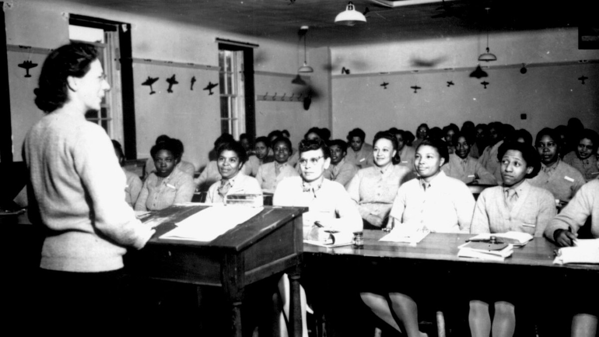 U.S. Army nurses during a lecture at the Army Nurse Training Center in England, 1944.